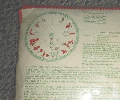 VTG NEW KIDS ANIMALS 1950'S EDNA LOONEY/STOKES CHRISTMAS TREE SKIRT CRAFT KIT