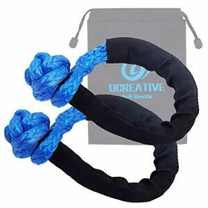 Synthetic Soft Shackle 1/2 Inch x 22 Inch with Extra Sleeves 2 Pack Blue NEW