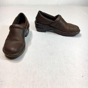 BOC-Born-Concept-Women-s-8-5-40-Brown-Leather-Slip-On-Wood-Grain-Clogs-Shoes