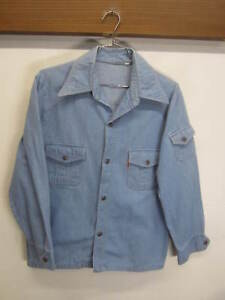 533919b17d9 Levi s Western Shirt light blue wash denim snap front sz L made in ...
