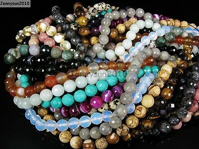 Natural Gemstones 8mm Faceted Round Loose Beads Strand 15'' ~ 16'' Pick Stone