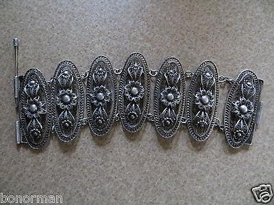 """Antique Victorian /Edvardian 800-900 silver Filigree link Bracelet  7.5 """""""