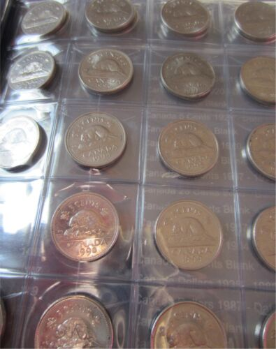 1961-2016 Complete Set of Canada Five Cents 56 Coins In Blue Uni-Safe Folder