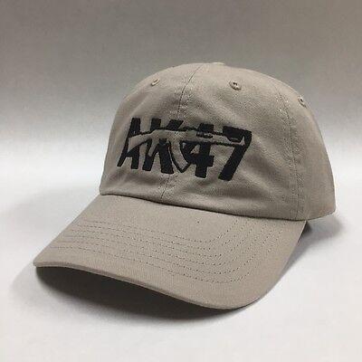 AK-47 Gun Pistol Firearm Hat Cap Khaki Rifle Weapon Embroidery