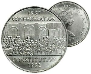 Canada-1982-Confederation-Constitution-UNC-MS-Dollar-From-Original-Mint-Roll