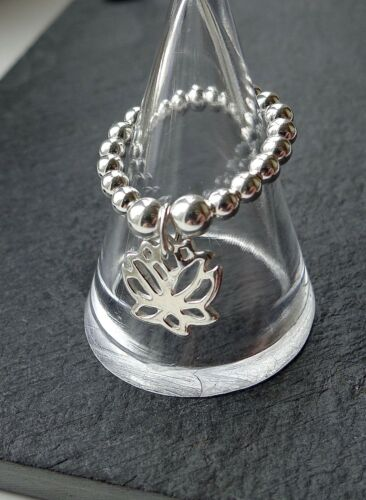 925 STERLING SILVER LOTUS FLOWER CHARM RING STRETCH /& STACK