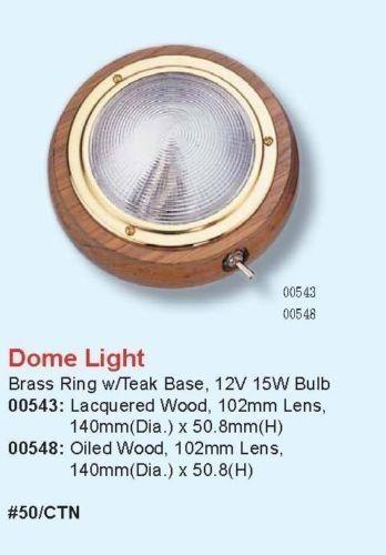 """MARINE BOAT 4/"""" DOME LIGHT PC LENS BRASS RING TEAK BASE HOUSING 15W BULB"""