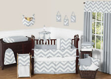 Sweet Jojo Designs Gray White Chevron Zigzag Baby Crib Bedding Set for Boy Girl