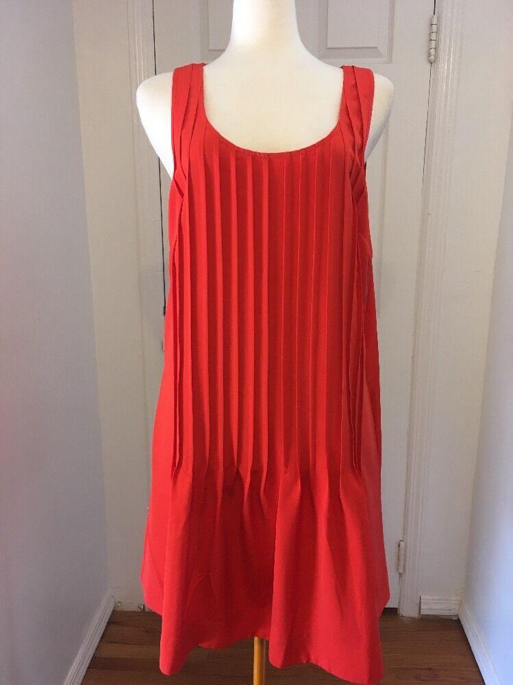 NWT orange Ralph Lauren A Line Pleated Dress Size 14