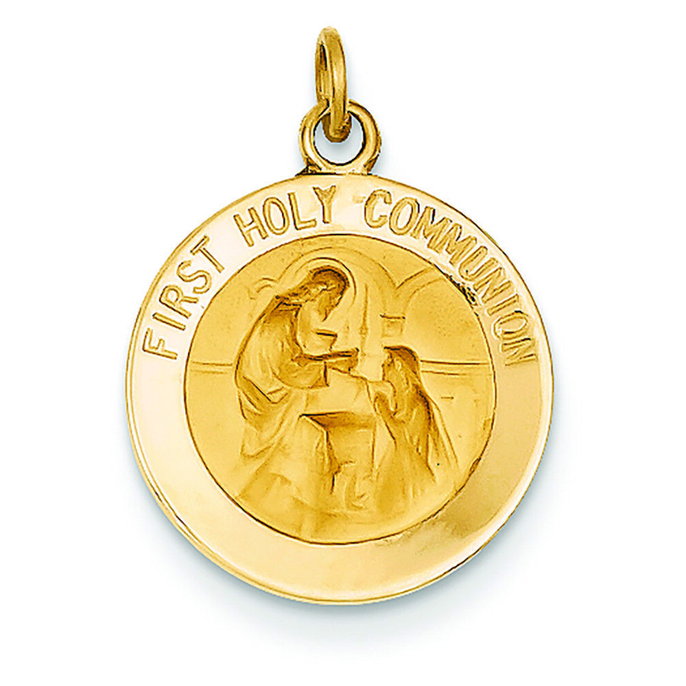 14K Yellow gold First Holy Communion Round Medal Charm Pendant MSRP  269