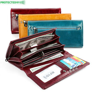 100-Genuine-Leather-Women-039-s-Long-Clutch-wallet-RFID-Blocking-ID-Card-Holder