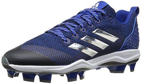 Adidas Men's Freak X Carbon Mid Baseball shoes, Collegiate Royal Metallic Silver