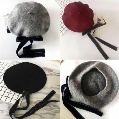 2a1286c3cf51c 2 of 9 Women s Girl Wool Warm Winter Baggy Classic French Fluffy Beanie  Beret Hat Black