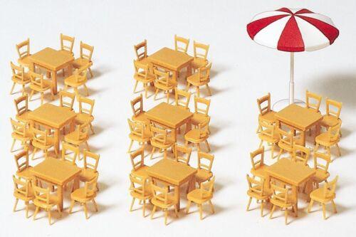 Preiser 17201 H0 8x Tische 48x Stühle 1x Sonnenschirm