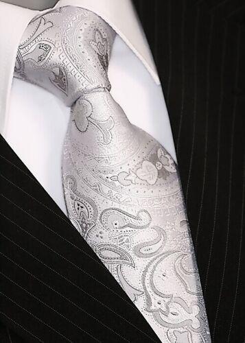 Krawatte mit Einstecktuch Krawatten Schlips Binder de Luxe Tie 255 silber