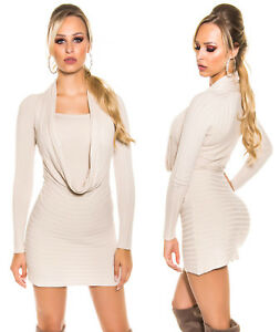 LONG-PULL-ROBE-TUNIQUE-FEMME-TOP-SEXY-COL-CASCADE-CREME-KOUCLA-T-34-36-38