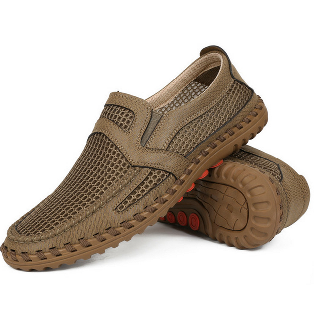 Mens Casual Flats Mesh Breathable Hollow Out Slip On Loafers Vogue Driving shoes