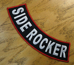 "CUSTOM EMBROIDERED PATCH SIDE ROCKER 11"" SAYING PATCH MADE IN USA"