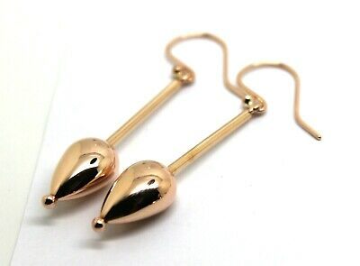 KAEDESIGNS GENUINE NEW 9CT 9KT YELLOW and ROSE GOLD 12MM HOOK DROP BALL EARRINGS