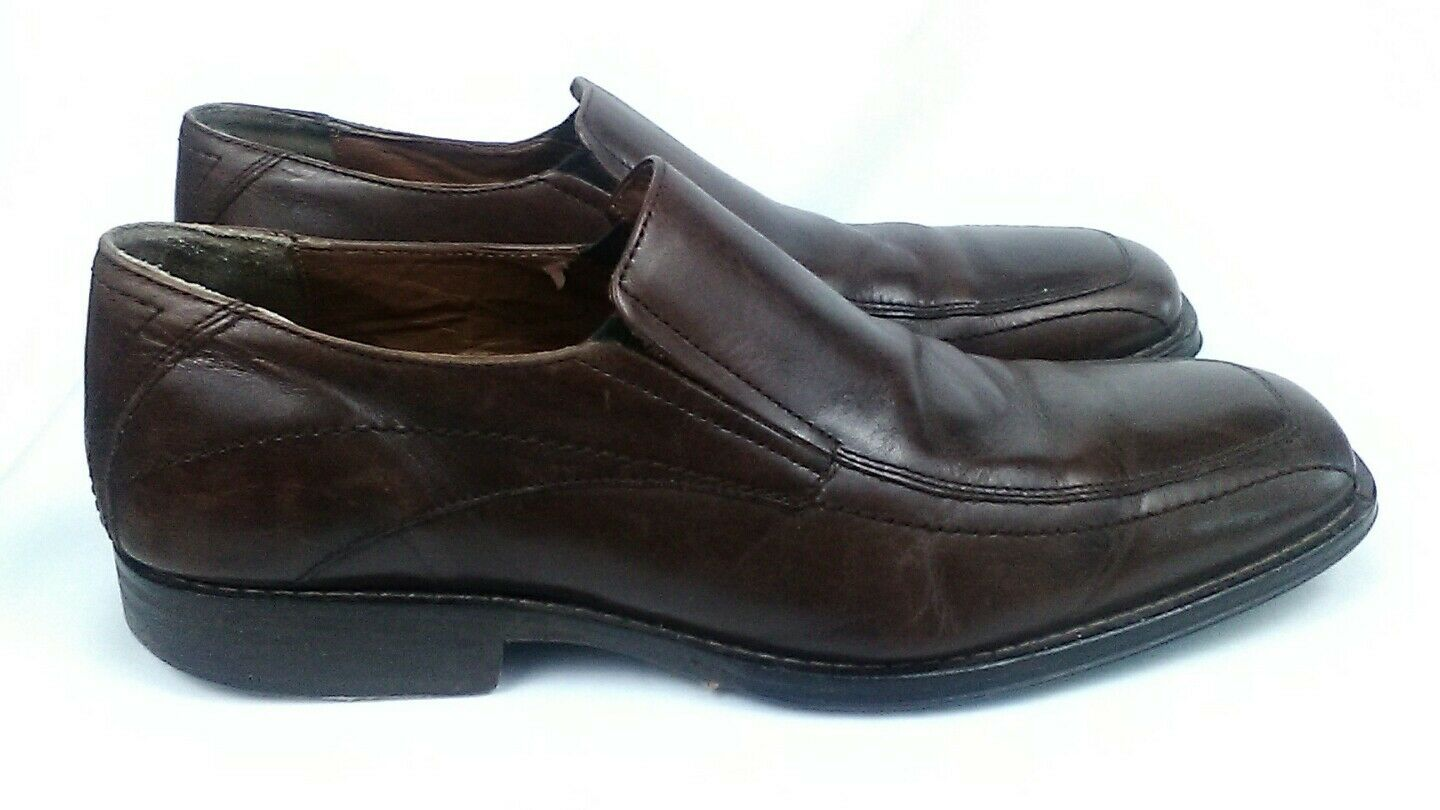 Johnston & Murphy Size 10 Square Tip Brown Leather Slip On shoes toe casual work