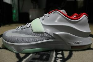 1dee4cb93d04 New Nike KD 7 NikeiD Yeezy Platinum Gray Red Green Size 13.5 GLOW IN ...