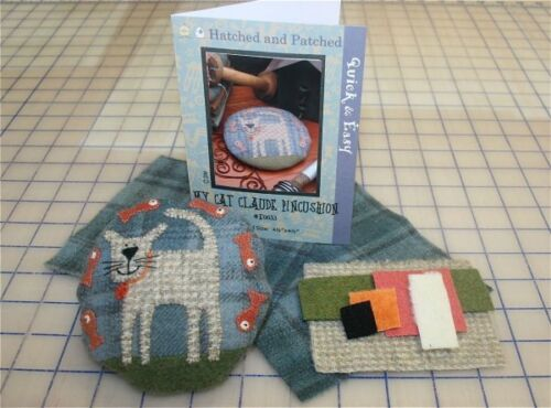 MY CAT CLAUDE PIN CUSHION  Pattern Wool Applique Pattern Craft Quilting