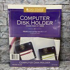 Vintage Day Timer Computer Disk Holder Folio Loose Leaf Planner Page