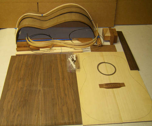 CUSTOM Luthier DREADNOUGHT or OM GUITAR KIT... Claro Walnut ALL SOLID WOOD