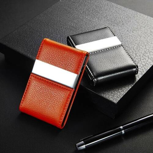 PU Leather Credit Card Holder Double Open Business Card Case Wallet Holiday Gift