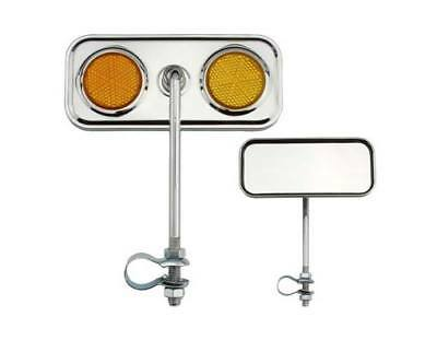 Two 2 Bicycle  Rectangle Mirrors With Reflector Purple One Pair 2 Pcs