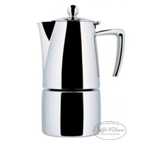 6 Tassen poliert Ilsa Slancio Herdkocher Espressokocher Caffe Milano