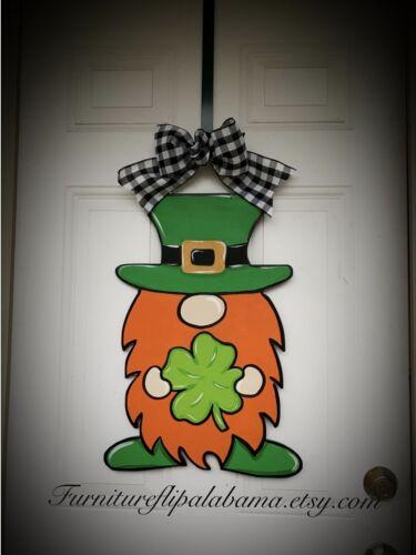 leprechaun door decor,shamrock wreath St Patrick's day gnome door hanger