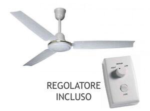 Ventilatore da Soffitto Bianco Agitatore 3 Pale 140cm Con Variatore 3 velocità