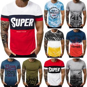 T-Shirt-Kurzarm-Shirt-Mit-Motiv-Rundhals-Mit-Aufdruck-Herren-OZONEE-9575-MIX