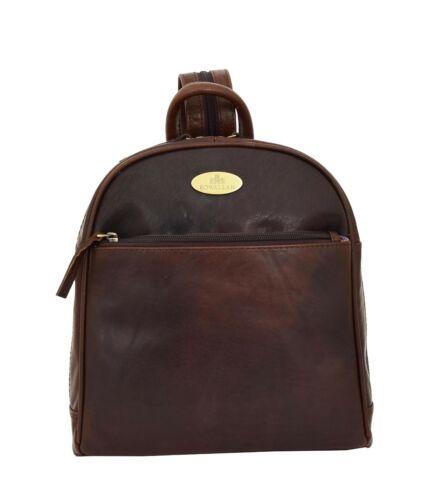 Womens Backpack Luxurious Brown LEATHER Rucksack Casual Travel Organiser Bag
