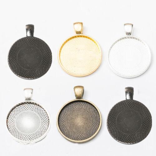 Pendant Base Setting Bezel Trays Fit Cabochons 25mm DIY Jewelry Making 10pcs//lot