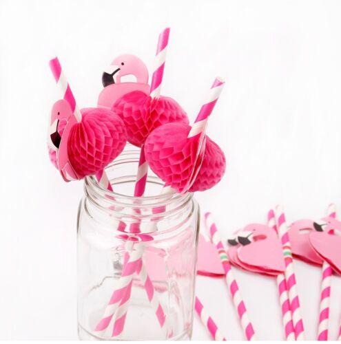 Set of 12 Flamingo Paper Straws SUP 24002