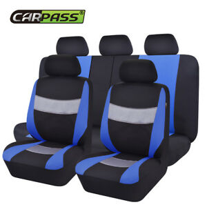 Universal-Premium-Blue-Black-Car-Seat-Covers-Breathable-For-SUV-VAN-Truck-Sedan