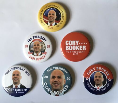 Set of 6 campaign buttons 2.25 inch pins Cory Booker for President
