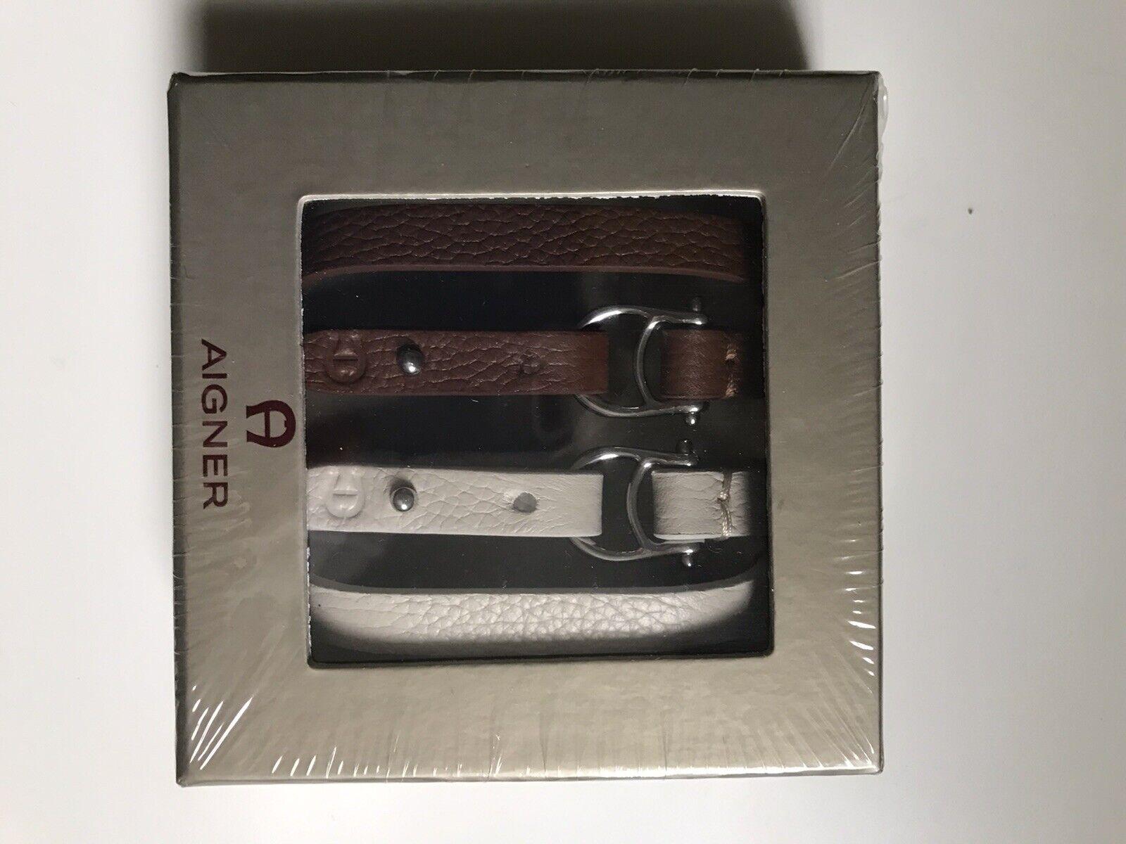 Aigner Leather Bracelets One Cream One Tan Brown, BNIB