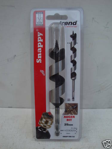"""Trend Snappy 25 mm x 155 mm Wood Auger Drill Bit 1//4/"""" Hex SNAP//AB//25"""