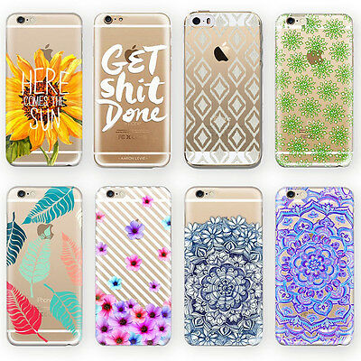 Various Pattern Clear Soft Silicone TPU Case Cover For iPhone 5 5S 5C 6S 6 Plus
