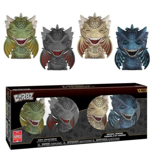 Dorbz Funko Game Of Thrones 4 Pack Rhaegal Drogon Viserion Icy Viserion **NEW**