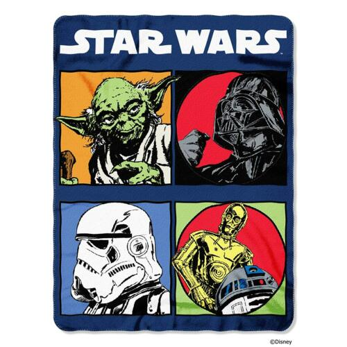 Star Wars 4 Square Yoda Darth Vader C3PO R2D2 Fleece Blanket Throw NEW