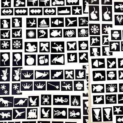 300 x mini stencils,boys&girls glitter tattoo face painting airbrush prof qual