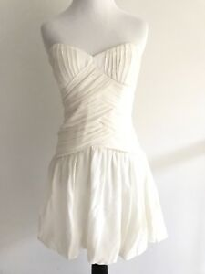 Nicole-Miller-Silk-Bubble-Dress-Size-2-Strapless-Ruffle-Fitted-Full-Short-Beige
