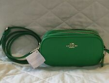 New Mini COACH Green Leather Double Zip 53034 CROSSBODY POUCH -- $150 RETAIL