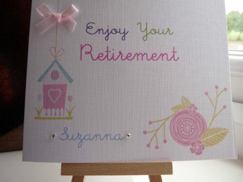 Hecho a mano personalizado de jubilación dejando Trabajo Nuevo Trabajo Buena suerte Tarjeta Hembra