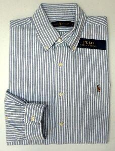 9e0afe7a1a96 NWT  89 Polo Ralph Lauren Blue White Striped Long Sleeve Shirt Mens ...