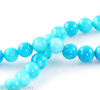 """1 Strand Blue Shell Round Loose Beads 7mm(2/8"""")-8mm(3/8"""") Dia."""